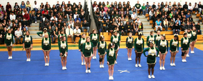 The cheerleading squad performed admirably
