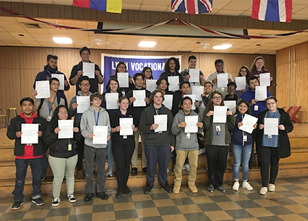 Photo of Students With Their Scholarship Certificates