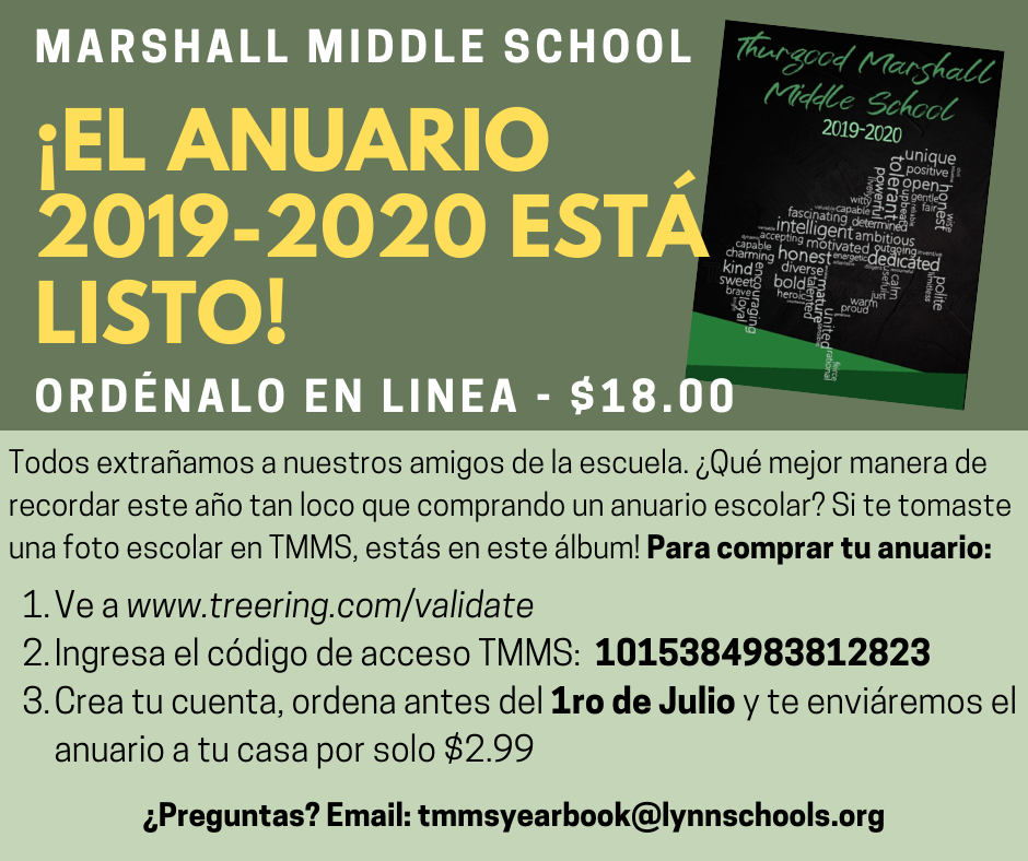 TMMS Yearbook flyer Spanish